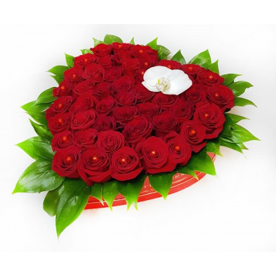 Алое сердце из 51 розы